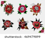 traditional tattoo flowers set... | Shutterstock .eps vector #469479899
