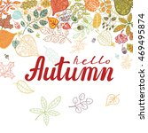 autumn full leaves poster with... | Shutterstock .eps vector #469495874