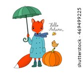 Cute Cartoon Fox Under An...