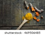 turmeric powder in spoon and... | Shutterstock . vector #469506485