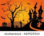 halloween scene with tree and...   Shutterstock .eps vector #469525514