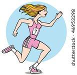 cartoon of woman running a race ... | Shutterstock .eps vector #46953298