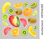 watercolor fruit set with mango ... | Shutterstock . vector #469546289