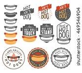 set of vintage hot dog labels ... | Shutterstock .eps vector #469546904