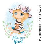 beautiful romantic girl vector...   Shutterstock .eps vector #469571894