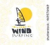 flat wind surfing logo... | Shutterstock . vector #469576469