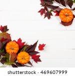 Autumn  White Wood Background...