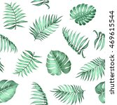 topical palm leaves on seamless ... | Shutterstock .eps vector #469615544