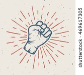 fist with sunbursts in vintage... | Shutterstock .eps vector #469617305