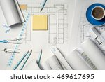 workplace of architect  ... | Shutterstock . vector #469617695