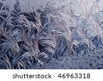 frost with strong blue light - stock photo