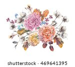 vintage watercolor autumn... | Shutterstock . vector #469641395
