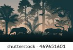 Stock vector vector evening in jungle with animals 469651601