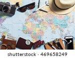 overhead view of traveler's...   Shutterstock . vector #469658249