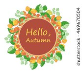 wreath of hand drawn autumn...   Shutterstock .eps vector #469670504