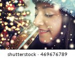 young woman with glass of... | Shutterstock . vector #469676789