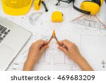 hand over construction plans... | Shutterstock . vector #469683209