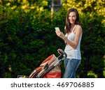 woman with baby carriage using...   Shutterstock . vector #469706885