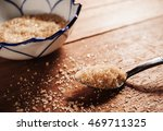 sugar in a stainless spoon on... | Shutterstock . vector #469711325
