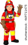 fire fighter cartoon waving | Shutterstock .eps vector #469711475