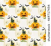 seamless halloween pattern with ... | Shutterstock .eps vector #469717454