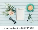 morning coffee cup  notebook... | Shutterstock . vector #469719935