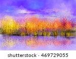 oil painting landscape  ... | Shutterstock . vector #469729055