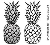 pineapple grey and outline... | Shutterstock .eps vector #469736195