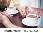hands of couple having date in... | Shutterstock . vector #469768565