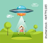 cartoon funny aliens spaceship... | Shutterstock .eps vector #469791185