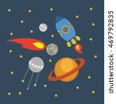 fun space illustration. vector. | Shutterstock .eps vector #469792835