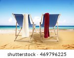 sunbeds and towels  | Shutterstock . vector #469796225