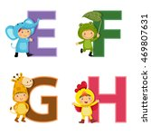 english alphabet with kids in... | Shutterstock .eps vector #469807631