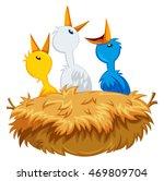 three baby birds in nest... | Shutterstock .eps vector #469809704