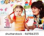 preschooler girl and paintbrush ...   Shutterstock . vector #46986355