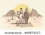 Hand drawn cowboys riding horses in desert at sunset. - stock vector
