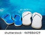 beach slippers on border of a... | Shutterstock . vector #469886429