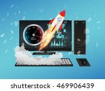 desktop computer with speed... | Shutterstock .eps vector #469906439