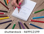"girl writes the text ""back to... 
