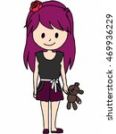 girl with teddy bear | Shutterstock .eps vector #469936229