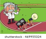 cartoon einstein in a race... | Shutterstock .eps vector #469955324