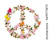 peace sign with pink flowers ... | Shutterstock . vector #469977875