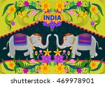 floral background with elephant ... | Shutterstock .eps vector #469978901