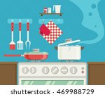 interior of kitchen  pans on... | Shutterstock .eps vector #469988729