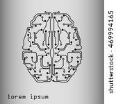 human brain in technological... | Shutterstock . vector #469994165