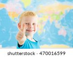 happy boy showing thumbs up... | Shutterstock . vector #470016599