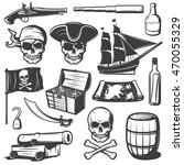 pirates icon set with skulls...   Shutterstock .eps vector #470055329