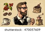 hipster barista holding a cup... | Shutterstock .eps vector #470057609