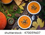 homemade pumpkin soup | Shutterstock . vector #470059607
