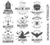 halloween black white emblems... | Shutterstock .eps vector #470066129